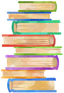 Watercolor art-style image of a stack of multi-colored books