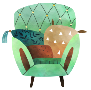 Watercolor art-styled clipart image of a comfortable green arm chair with brown and green pillows