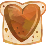 Watercolor style clipart showing a piece of bread with peanut butter on it. The peanut butter is spread in the shape of a heart