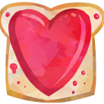 Watercolor style clipart showing a piece of bread with jelly on it. The jelly is shaped in a heart, and is red for strawberry