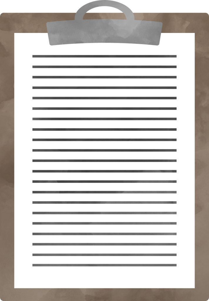 Watercolor style clipart image of a clipboard, with a paper on it, and generic lines indicating a full page of text