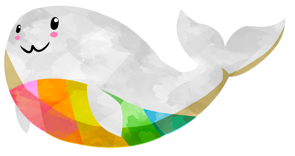 A kawaii, watercolor styled clipart image of a happy white colored whale, with a multicolor rainbow underbelly