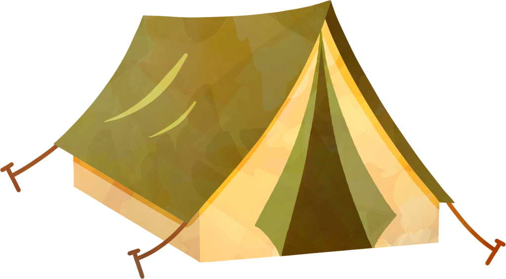 Clipart image of a small, muddy green colored, outdoor tent with stakes holding the tent ropes to the ground