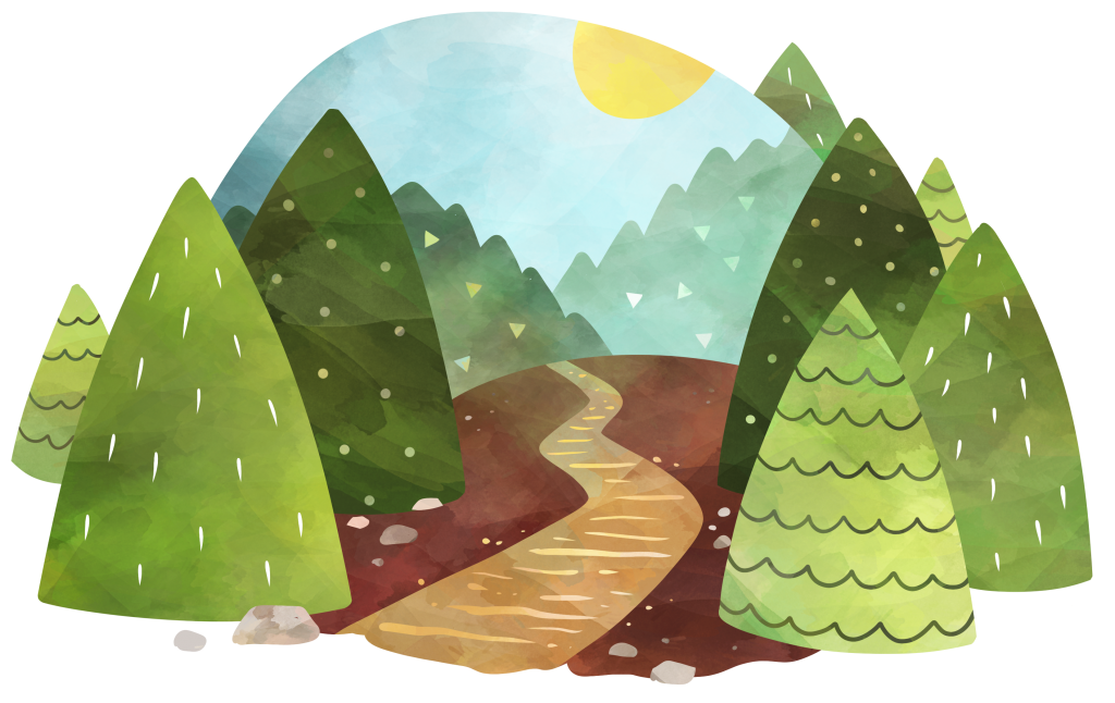 Clipart image in watercolor style of a pine tree forest with a path down the center, with the sun still in the horizon shining on the scene