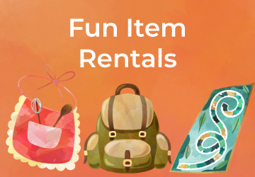 Fun rental items available to rent at FCL