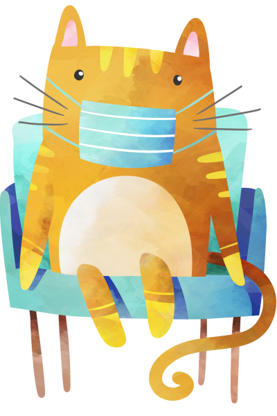 Clipart image of a cat sitting on a blue arm chair, wearing a face mask with a neutral facial expression